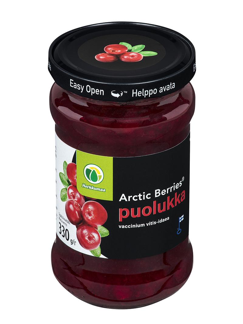 Arctic Berries Puolukkasurvos 330 g lasipurkissa easy open -kannella