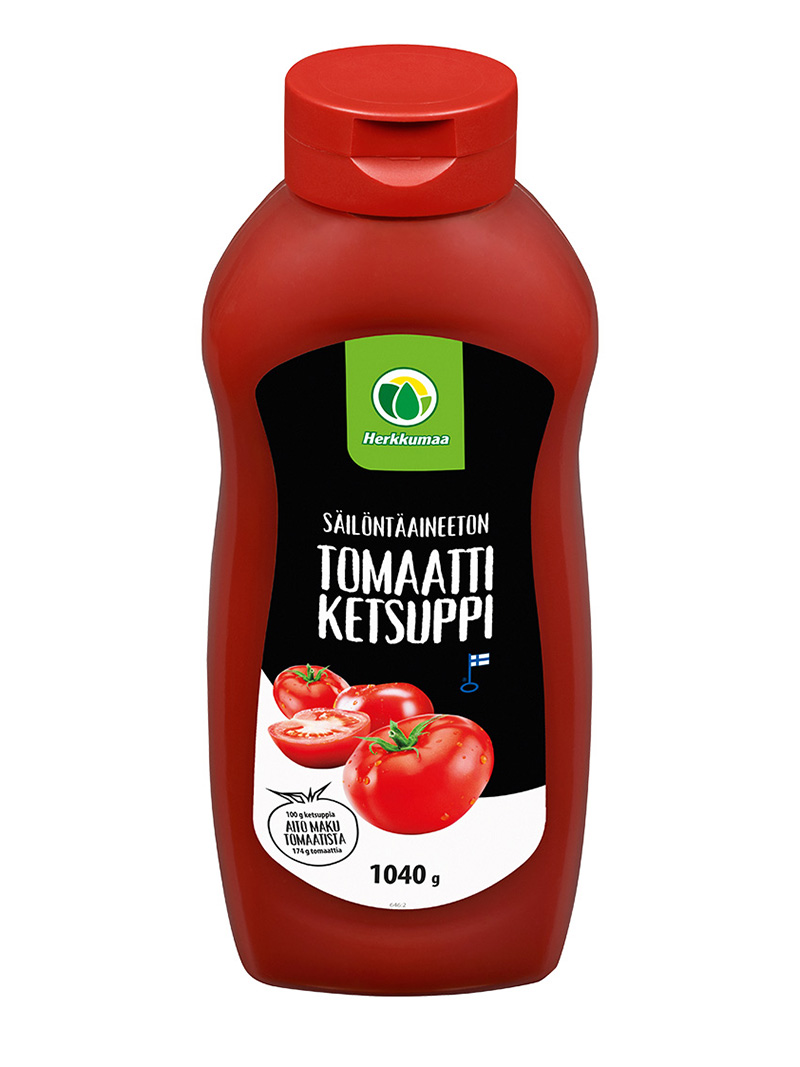 Herkkumaan säilöntäaineeton tomaattiketsuppi 1 kilon pullossa
